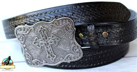 Handmade Leather Tool Belt - black handmade basket weave tool western leather mens belt