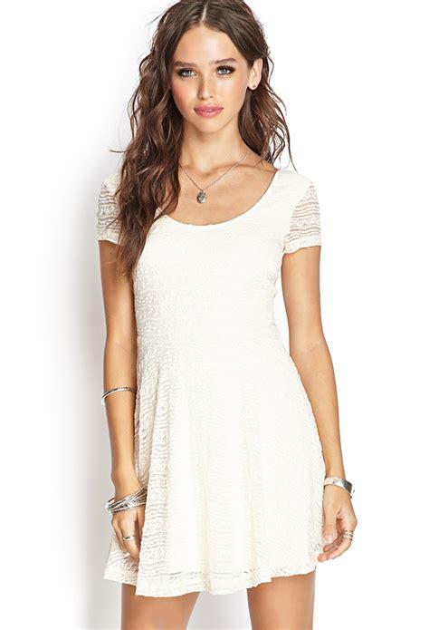Dress Forever 21 forever 21 lace skater dress in white lyst