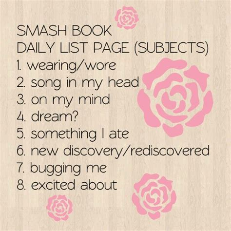 themes in the book every day smashbook subject idea list lists pinterest smash