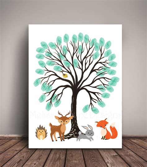 Tree For Baby Shower by Woodland Baby Shower Guest Book Alternative Thumbprint