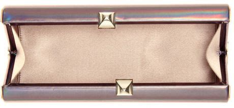 Jimmy Choo Slate Clutch by Jimmy Choo Charm Holographic Box Clutch In Silver Slate