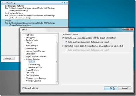 how reset visual studio settings switch between visual studio 2010 settings files via