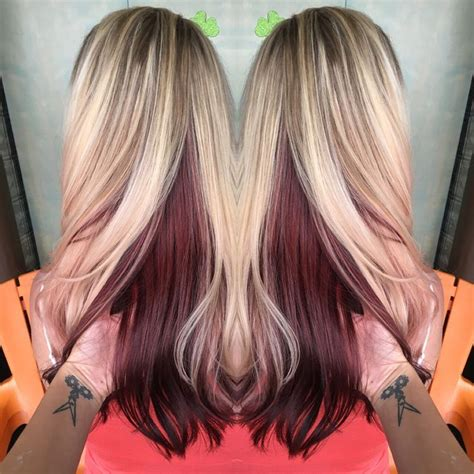 blonde and burgundy hairstyles best 25 blonde underneath hair ideas on pinterest