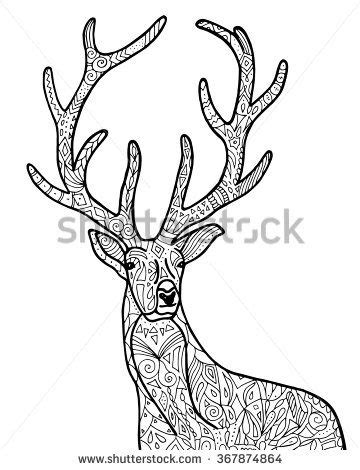 deer coloring page for adults vector hand drawn deer illustration for adult coloring