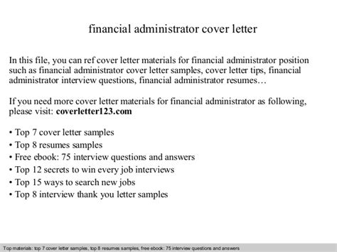 Cover Letter Finance Administrator Financial Administrator Cover Letter