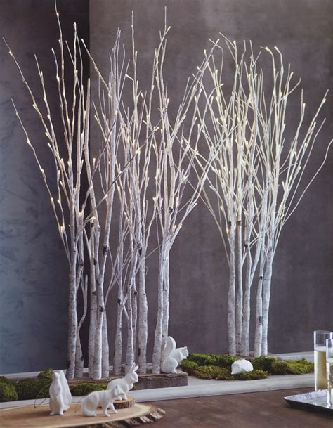 lighted birch tree forest nova68 modern design
