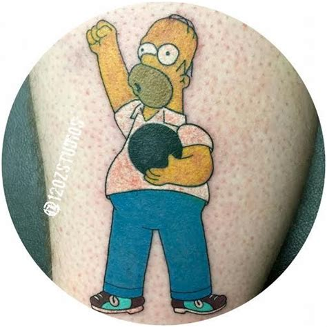 awesome hilarious full color homer simpson bowling tattoo