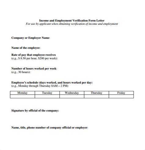 proof of income letter template 7 documents in