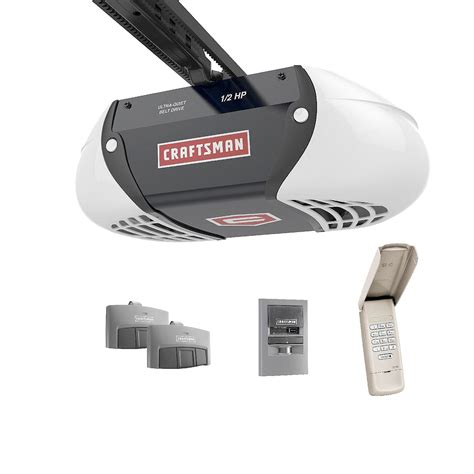 2 Door Garage Door Opener Craftsman 1 2 Hp Belt Drive Garage Door Opener With 2 Multi Function Remotes And Keypad