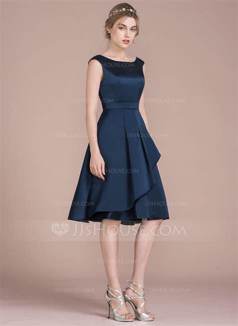 Dres Donita No 8 a line princess scoop neck knee length satin bridesmaid dress with cascading ruffles 007104719