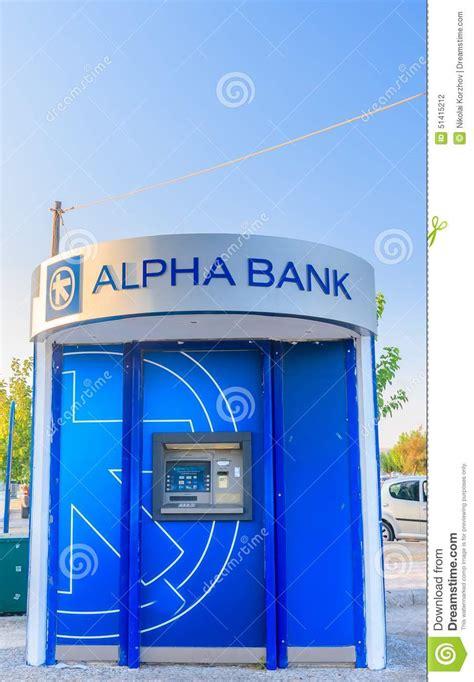 alfa bank alfa bank atm faliraki island rhodos greece editorial