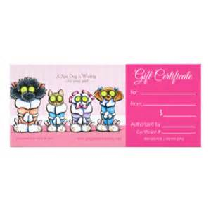 printed dog grooming business gift certificates