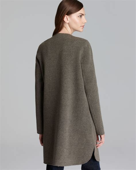 coats and sweaters vince sweater coat asymmetric in green lyst