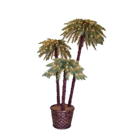 7ftlite palm tree at lowes shop 6 ft potted potted caribbean palms pre lit artificial tree set with clear lights