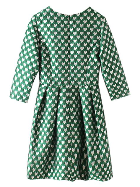 heart pattern dress best price green heart pattern 3 4 sleeve high waist