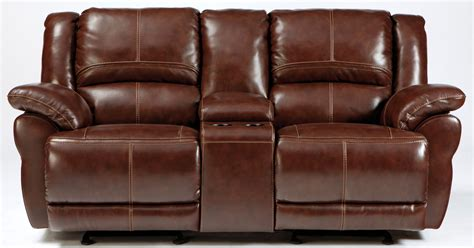 glider reclining loveseat lenoris coffee glider reclining loveseat with console from