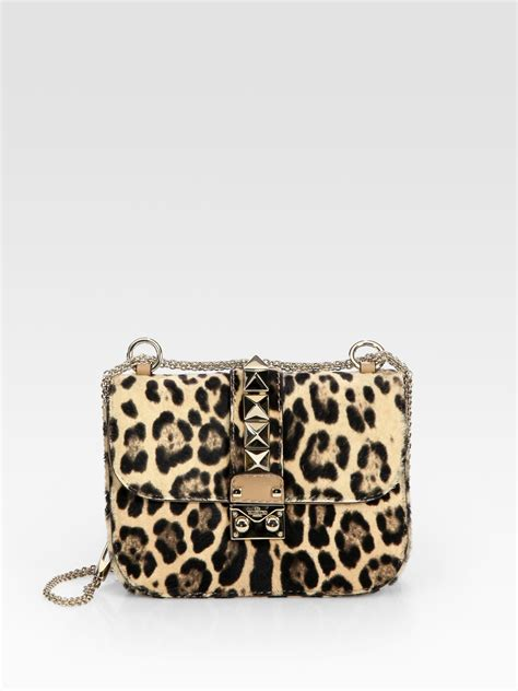 Valentino Animal Print Handbag by Valentino Rock Lock Leopard Print Calf Hair Crossbody Bag