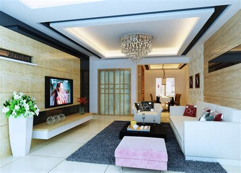Pop Ceiling Decor In Living Room With Simple Designs Ceiling Designs Living Room