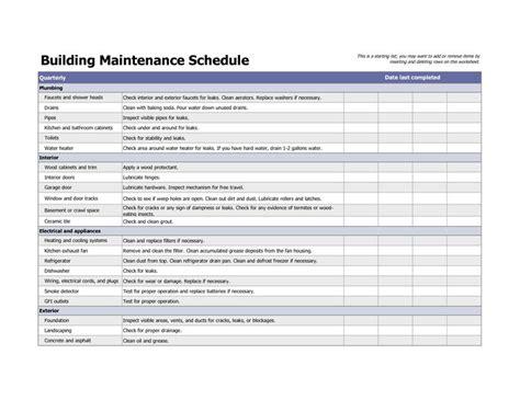 building maintenance schedule excel template home maintenance pinterest building  template