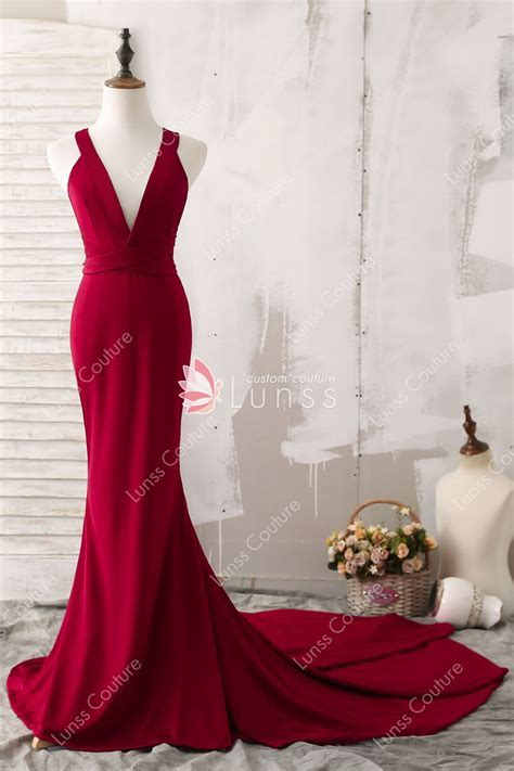 Elegant Wine Plunging V neck Chapel Train Mermaid Prom