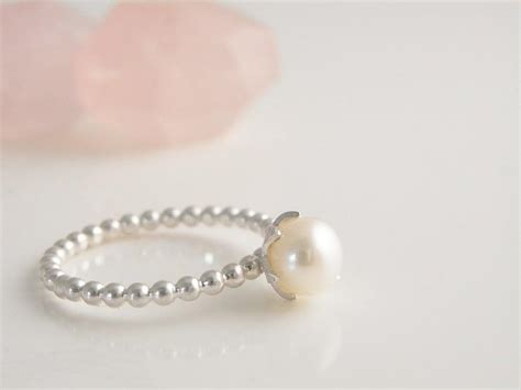 Handmade Pearl Ring - pearl ring handmade sterling silver ring freshwater