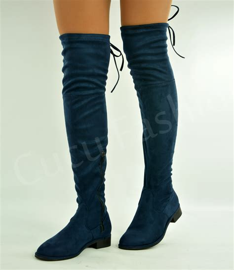 new womens the knee boots back lace low heels