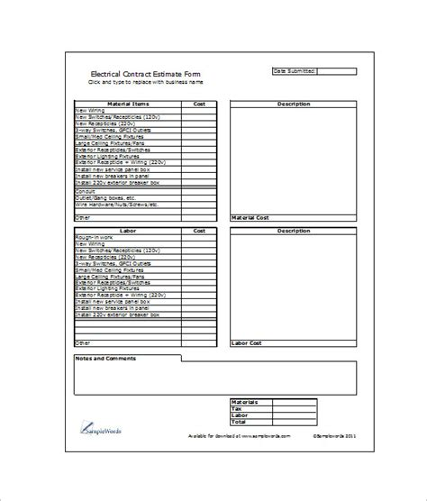 sheet template for electrician schedule and cost summary calculator quotes