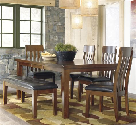 casual dining sets with bench signature design by ashley ralene casual 6 piece dining