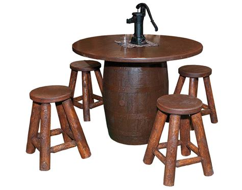 Barrel Bar Table Stained Whisky Barrel Bar Table W 4 Stools
