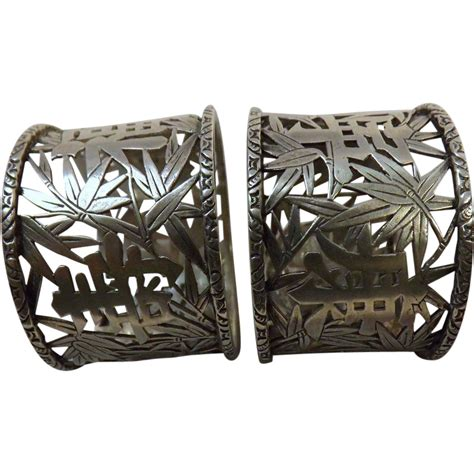 Furniture Store Kitchener by Wo Chinese Export Silver Napkin Rings Pair Circa 1880