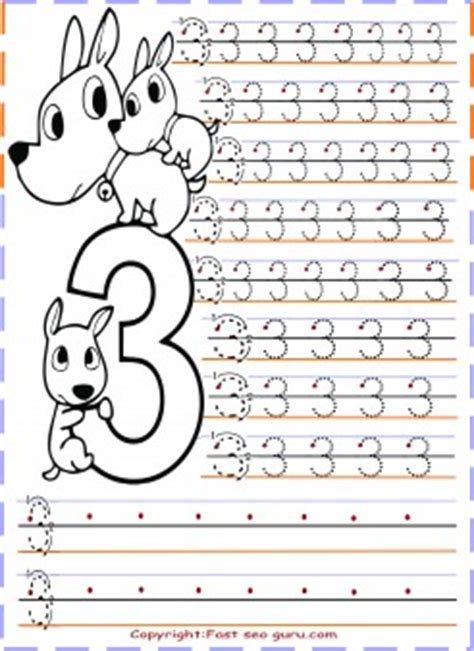 kindergarten number 3 tracing worksheets printable