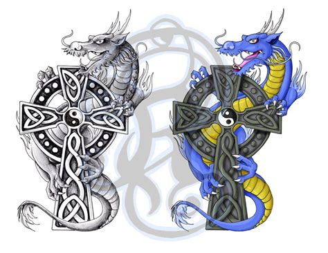 celtic cross with dragon tattoo celtic by ladywildrose on deviantart