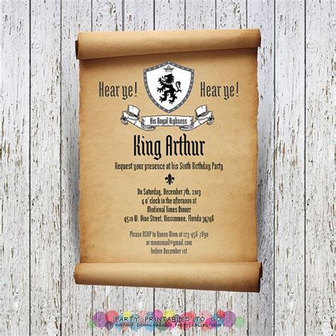 Baby Boy Shower Invite Wording by Medieval Knights Scroll Invitation With Free Thank You