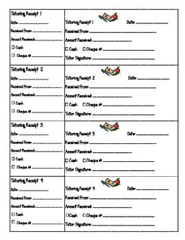 tutoring receipt template printable tutoring receipts by charbonneau tpt