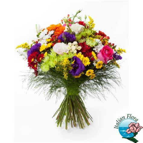 italia fiori bouquet colorato con mimosa