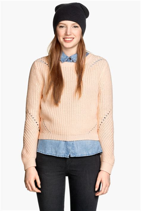 Hm Top Knit Cleo Fit L pattern knit sweater powder sale h m us