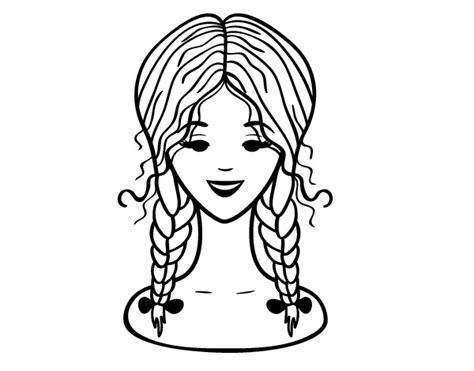hairstyle two braids coloring page coloringcrew com