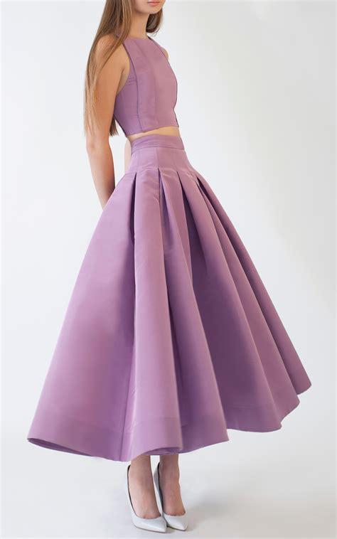 ermilio box pleat swing skirt in purple lyst