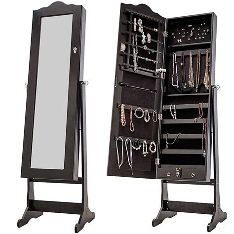 nishano jewellery cabinet large black floor standing