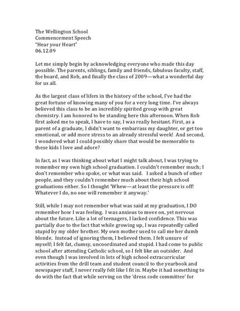 Graduation Essay Ideas by Nancy Kramer S Commencement Speech To Wellington S Class Of 2009