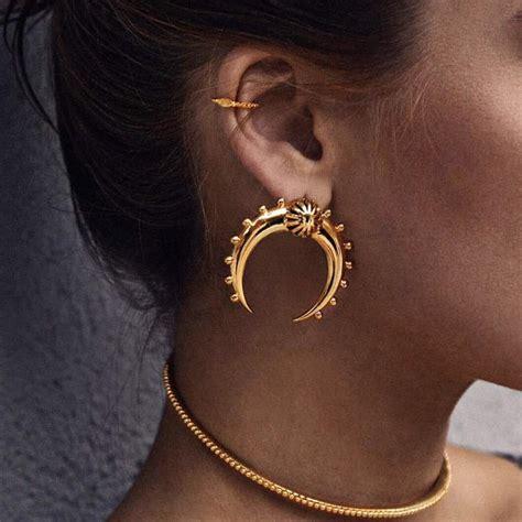 Geometry Ear Stud vintage silver gold plated ear stud moon geometry