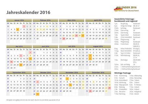 Kalender 2016 Jahresansicht Kalender 2016 Deutschland Kalender 2016