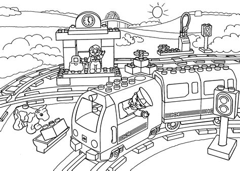 coloring page train station lego train station coloring page for kids printable free