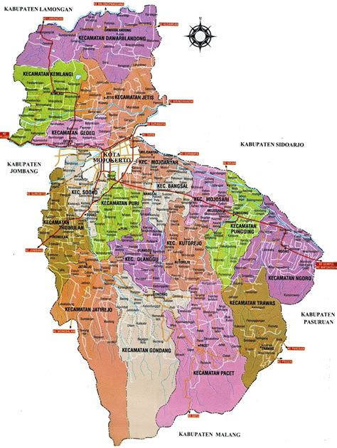 peta kota peta kabupaten mojokerto