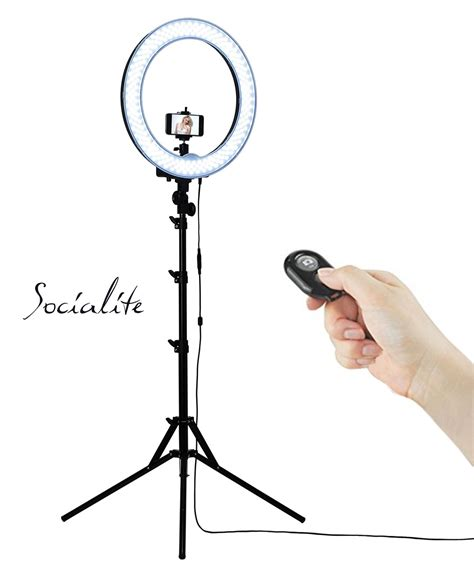 ring light amazon socialite 18 quot led dimmable photo ring light kit incl