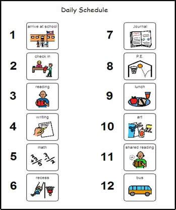printable visual calendar visual schedule for autistic children exle daily