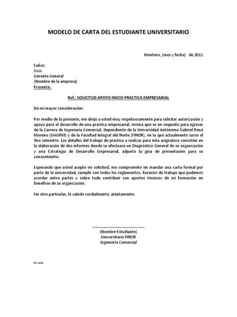 modelo carta de solicitud apoyo 1 modelos de carta solicitud practica empresarial