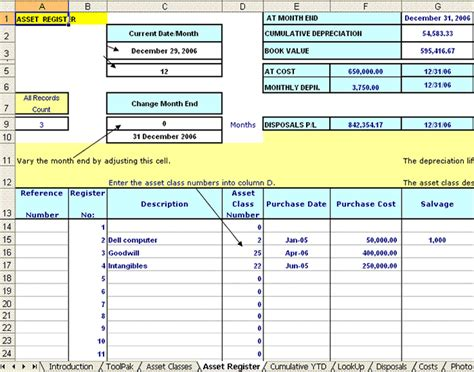 fixed asset register excel template fixed asset accounting with macrs for excel excel