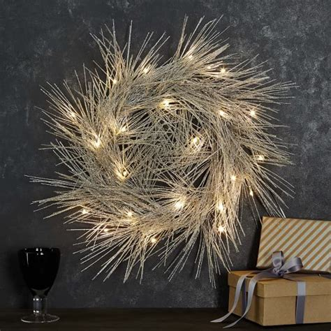 light up wreaths led light up tinsel wreath west elm