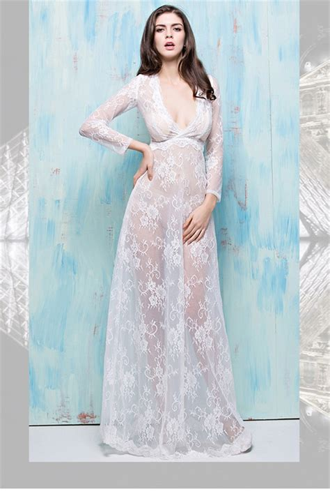 my 5 favorite sheer long gowns the lingerie addict sexy deep v neck long sleeve sheer see through white lace